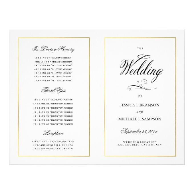 Elegant Calligrpahy Wedding Program Gold Border 85 X 11 Flyer