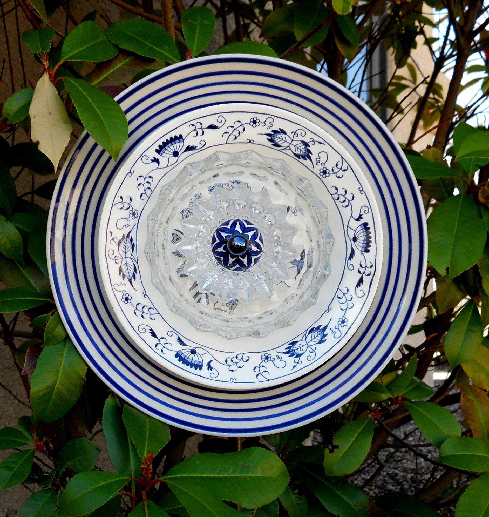Yard Art Plate Flower, Decorative Garden Art, Recycled