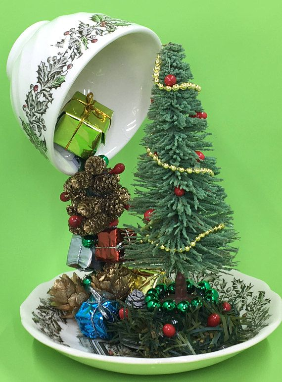 Christmas Floating Tea Cups.Floating Tea Cup Christmas Tree Holiday Centerpiece Teacup