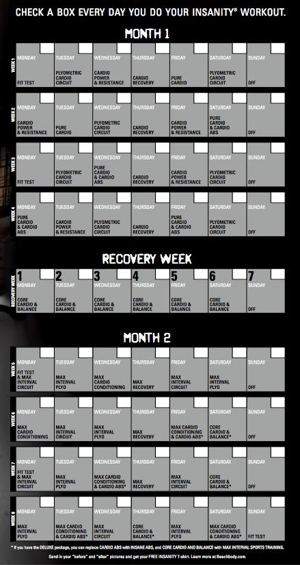 Insanity 60 Day Workout Calendar Workout Calendar Insanity Workout Calendar Workout Schedule