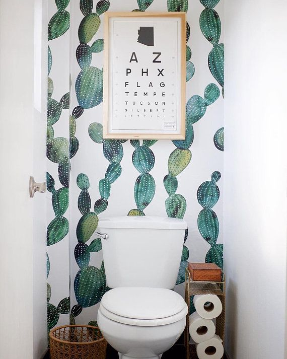 Awesome cactus removable wallpaper || Metallic look || Cactus decal || Peel and stick removable wallpaper || Wall mural, Floral, Nature  #41