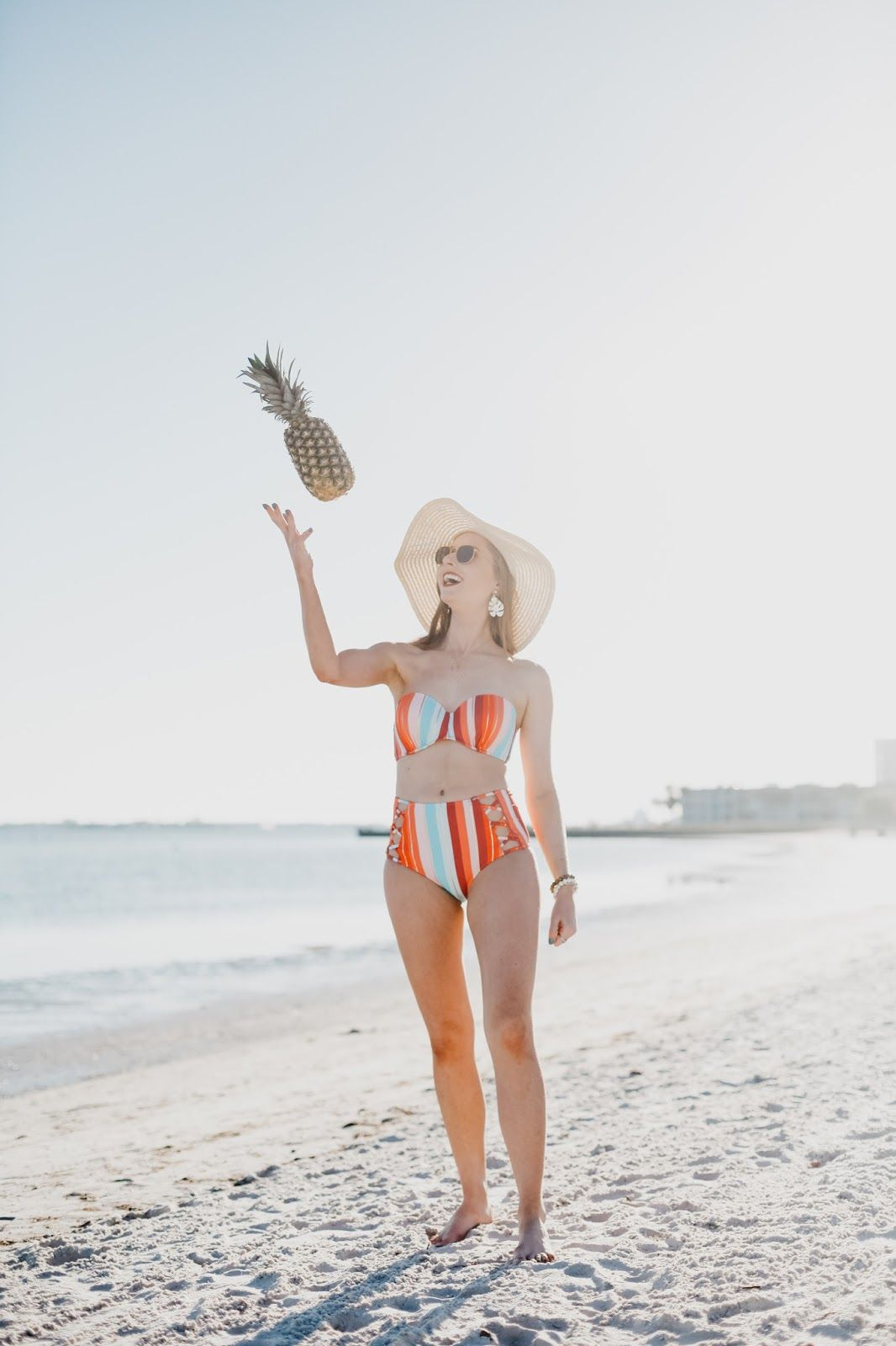 f7a40e162ab Affordable by Amanda  How to Style a Floppy Hat + Striped Swimsuit from  Target at