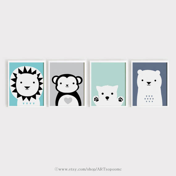 Printable Nursery Art Set Of 4 Poster Lion Monkey Puppy Bear Animals