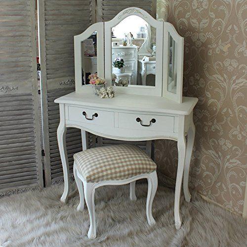 Classic blanco de tocador con taburete y espejo triple - Tocador con espejo ...