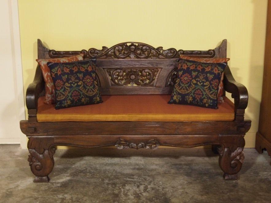Carved Teak Bali Bench   Indian  Balinese  Morrocan   Home   Garden   Furniture. Carved Teak Bali Bench   Indian  Balinese  Morrocan   Home
