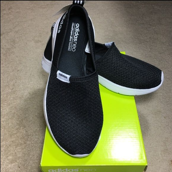 hot sale online dffba f62cf NEW Adidas Neo Black Lite Slip On Sneaker Shoes 8 NWT adidas Neo Black slip  on