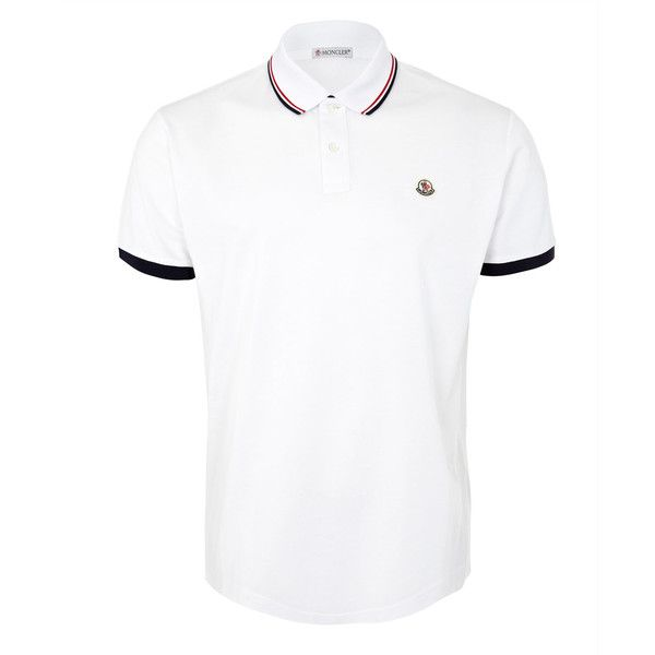 3493ebd8d3903f Moncler White Pique Polo T-Shirt ($190) ❤ liked on Polyvore featuring men's