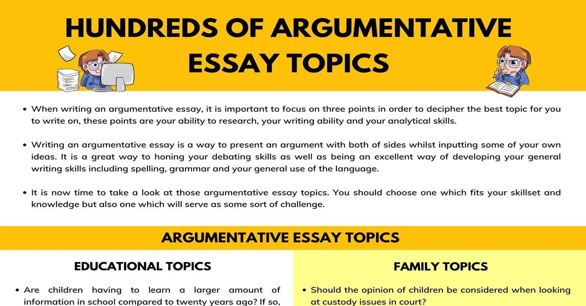 Hundred Of Argumentative Essay Topic For Any Assignment 7 E S L Good Sports