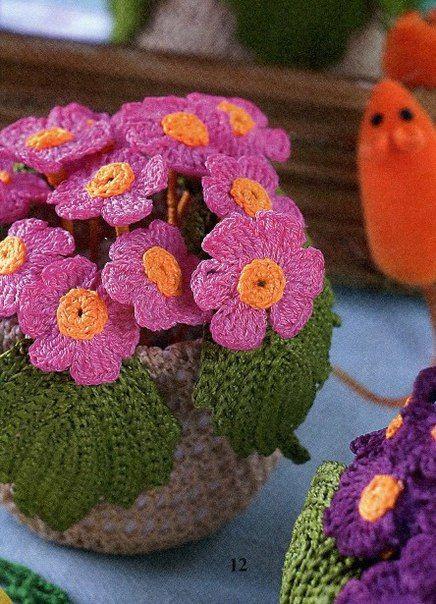 crochelinhasagulhas: Flores e vasos em crochê