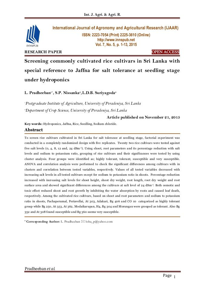 Screening Commonly Cultivated Rice Cultivars In Sri Lanka With Special Reference To Jaffna For Salt Tolerance At S Agronomy Research Paper Agricultural Science