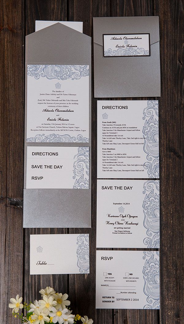 Wedding invitations with silver cover and custom inside wedding ...