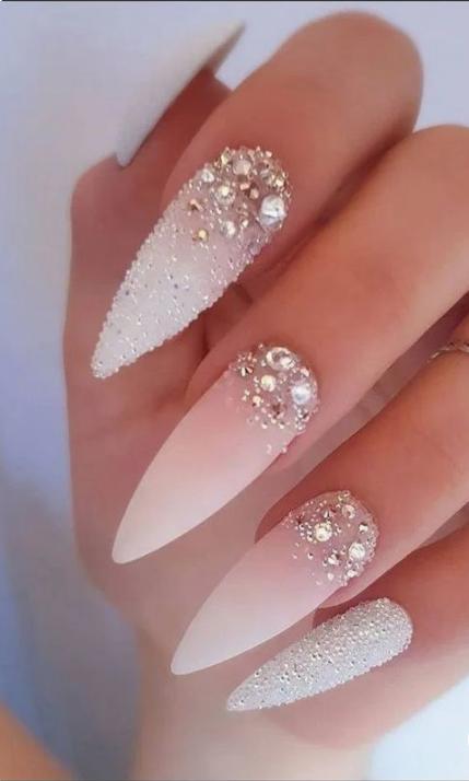 50 Glittering Acrylic Nails For Medium Length Nails And Long Nails The First Hand Fashion News For Females In 2020 Bride Nails Wedding Nail Art Design Makeup Nails Art