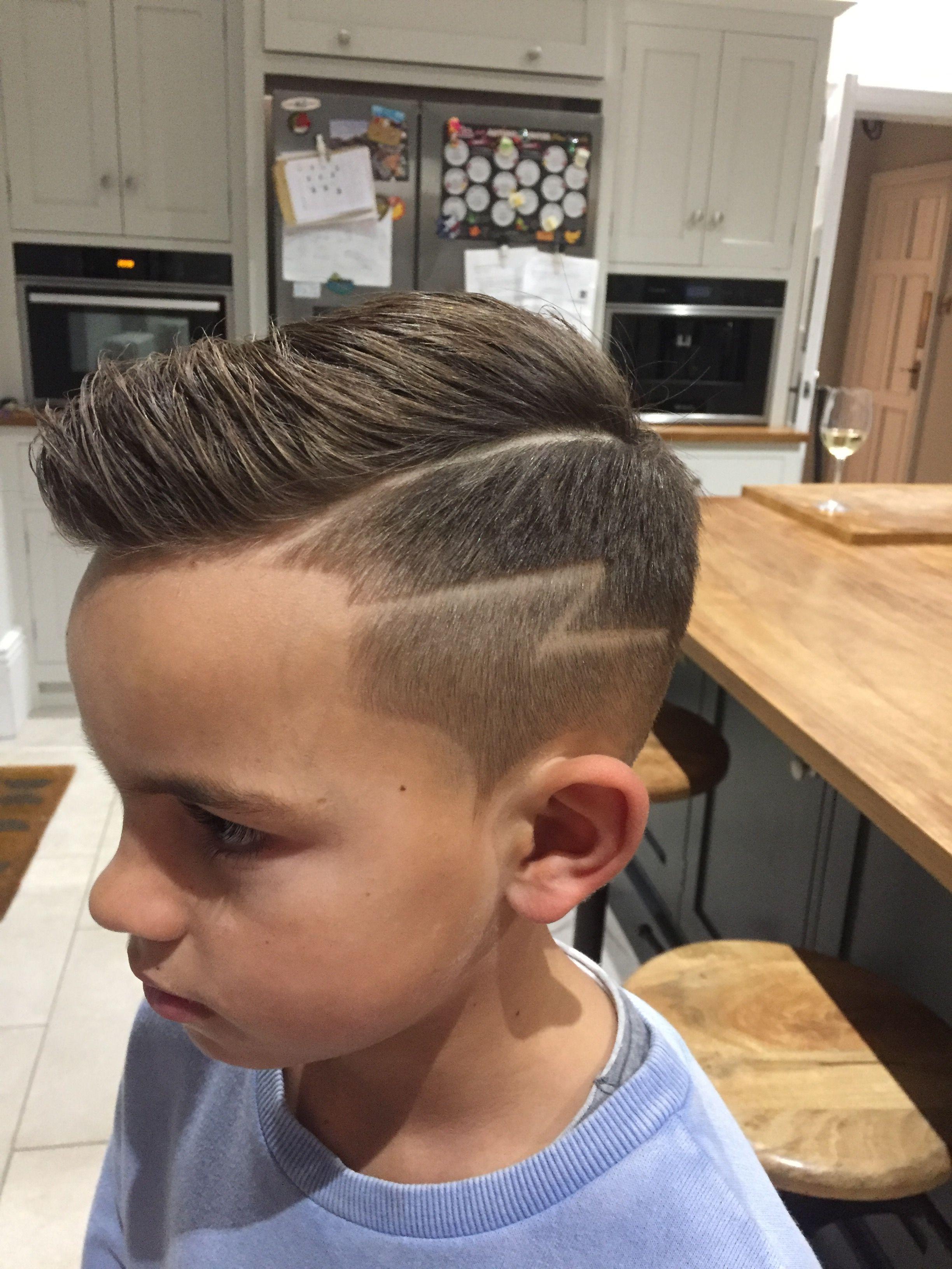 boys haircut with lightning bolt