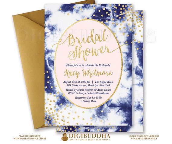 blush indigo bridal shower invitation printable pink gold glitter