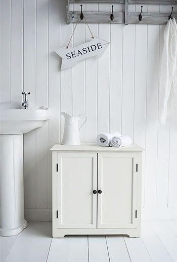 Hamptons Cream Cabinet Small Cupboard White Bathroom Cabinets
