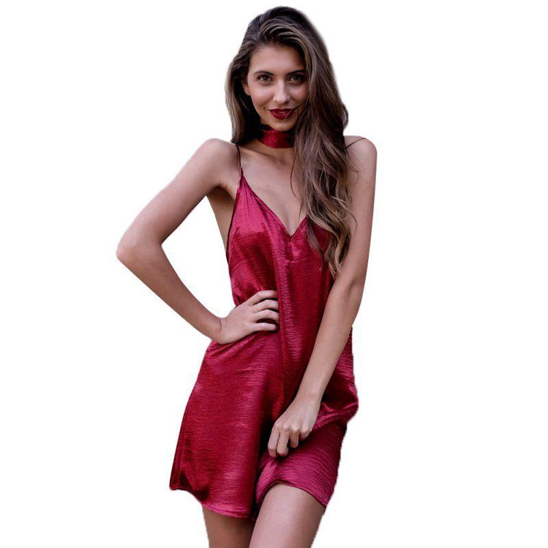 Frauen Shinning A-linie Kleider Sexy Tiefem V-ausschnitt Zurück ...