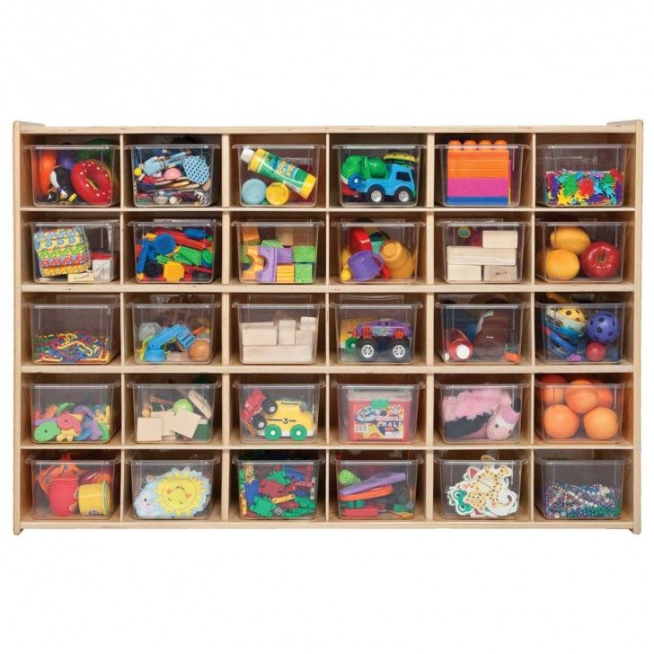 Furniture. Simple Toy Storage Bin Made Of Wood With Modular Shapes Square  Holes Plastic Boxes