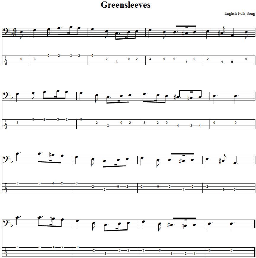 Greensleeves Bass Guitar Tab