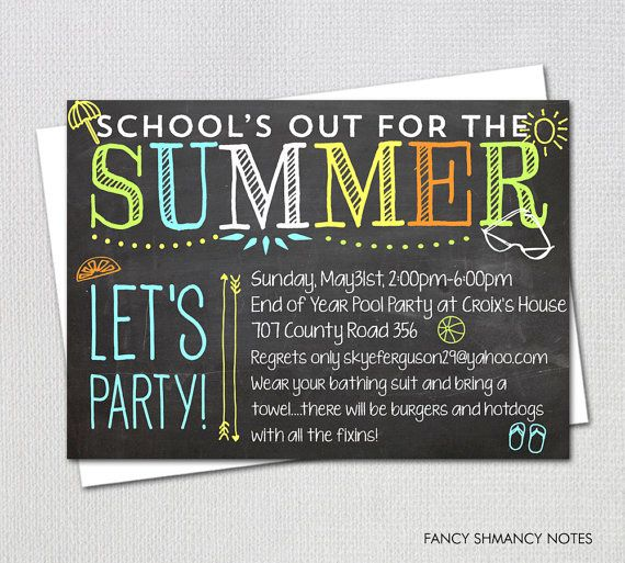 Pool Party Invitation  End of Year Party   by FancyShmancyNotes - fresh invitation for birthday party by email