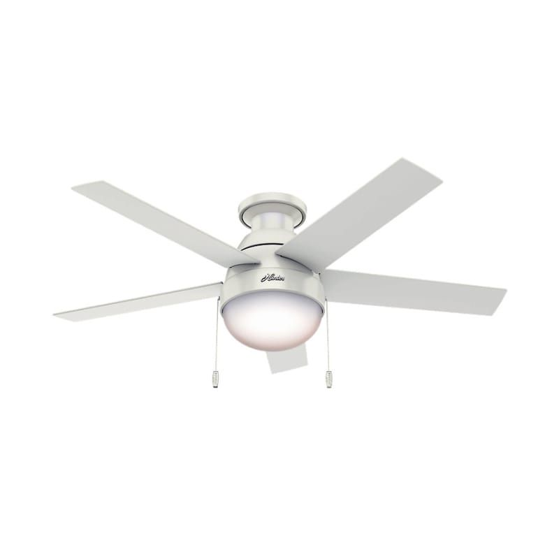 Hunter Anslee Low Profile Anslee 46 Ceiling Fan 5 Reversible Blades And Light Fresh White Fans Ceiling Fans Indoor Ceiling Fans White Ceiling Fan Ceiling Fan Ceiling Fan With Remote