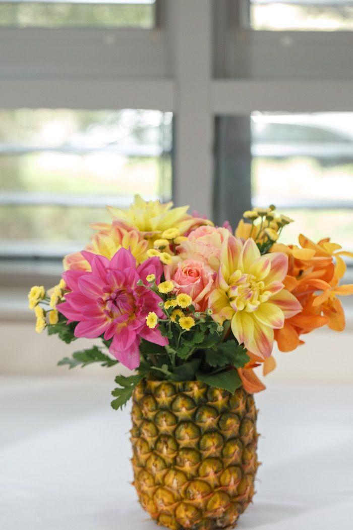 Pineapple Floral Arrangement from a Tutti Frutti Birthday Party via Kara's Party Ideas | KarasPartyIdeas.com (15)