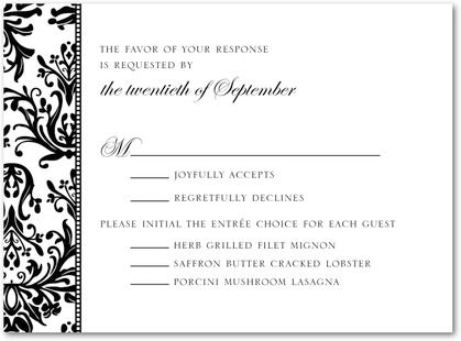 rsvp card wording with meal options - Google Search My wedding