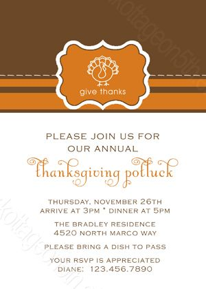 Thanksgiving Potluck Dinner Invitation- Printable Holiday Photo - printable dinner invitations