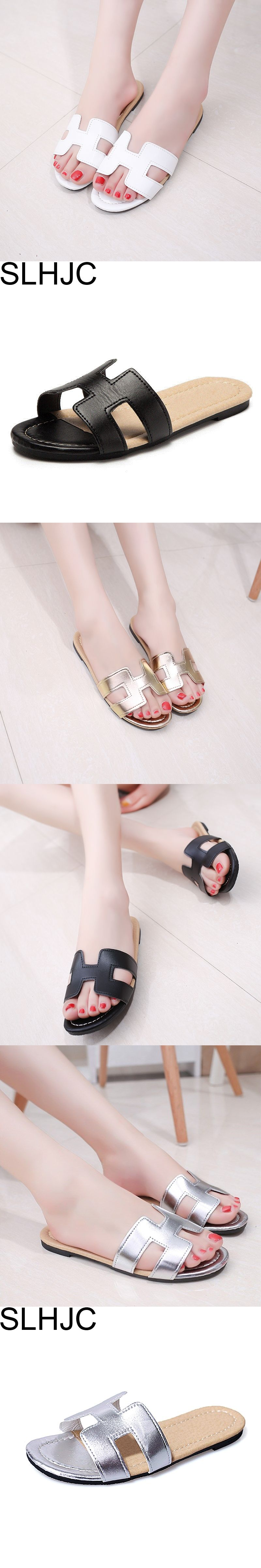 SLHJC 2017 Summer Leather Slippers Women Fashion Flat Heel Home Bedroom  Luxury Shoes Beach Slides Black White Silver Gold Shoes d35702df187a