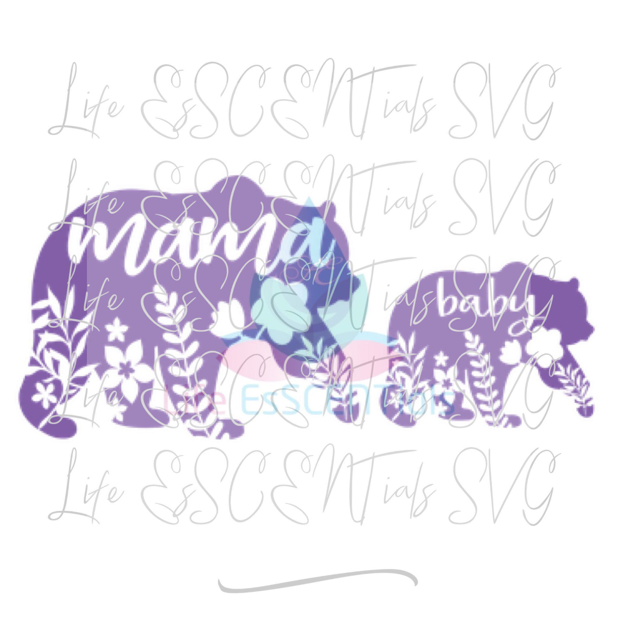 Art Unlimited Sportswear: Floral Mama & Cub Bear Floral SVG DIGITAL Only Cut File