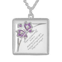 Butterfly Square Pendent Necklace