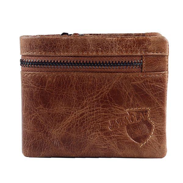 Vintage genuine leather wallet brown Folded purse