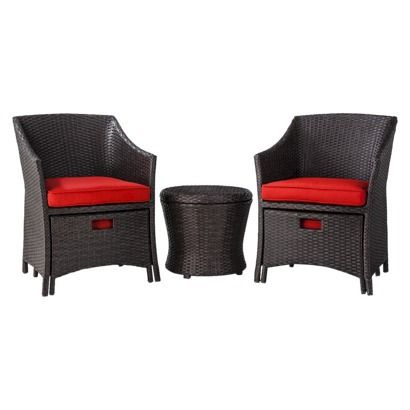 Beautiful Loft Wicker Patio Conversation Furniture Set: Nice Set With Ottomans That  Tuck Under The Chair To Save Space.
