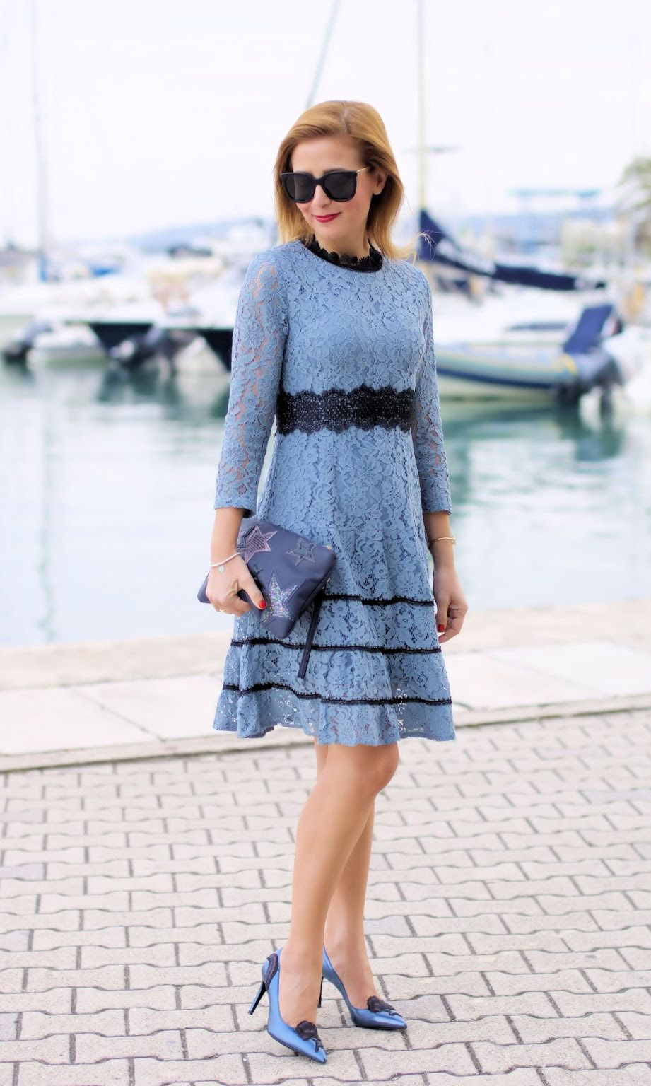 f69812b33e Blue Hollow Out Lace Swing Midi Dress