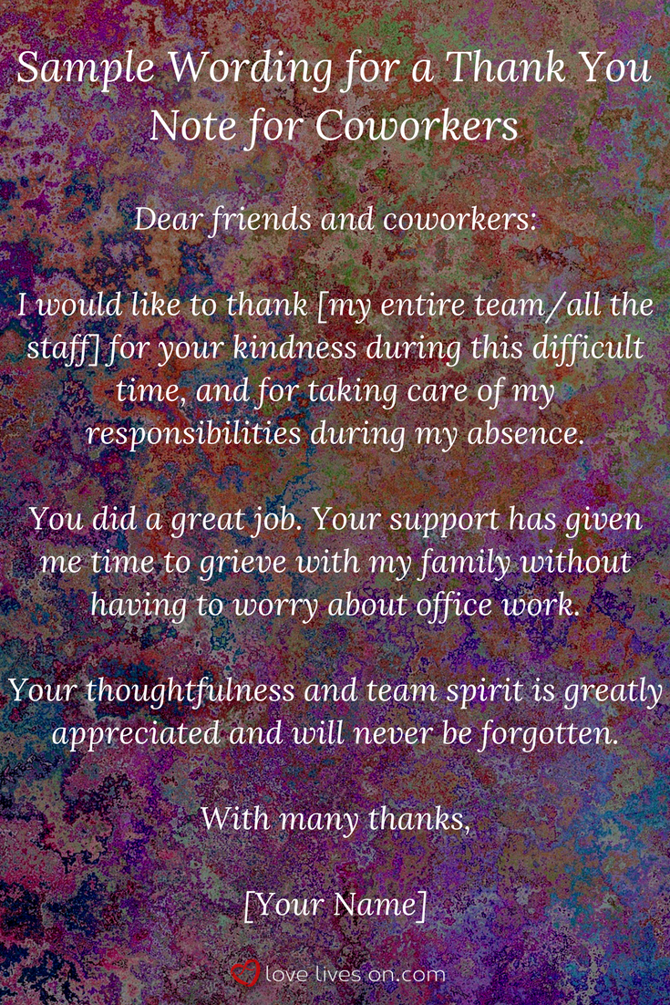 33 best funeral thank you cards pinterest etiquette funeral sample wording for a funeral thank you note to coworkers who were there for you in your time of need click for more funeral thank you note writing tips izmirmasajfo