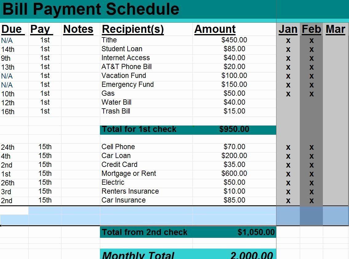 New excel payment schedule template in 2020 schedule