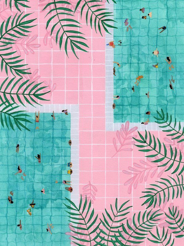 Two Pool Vacation By Joanne Ho On In 2020 Art Prints