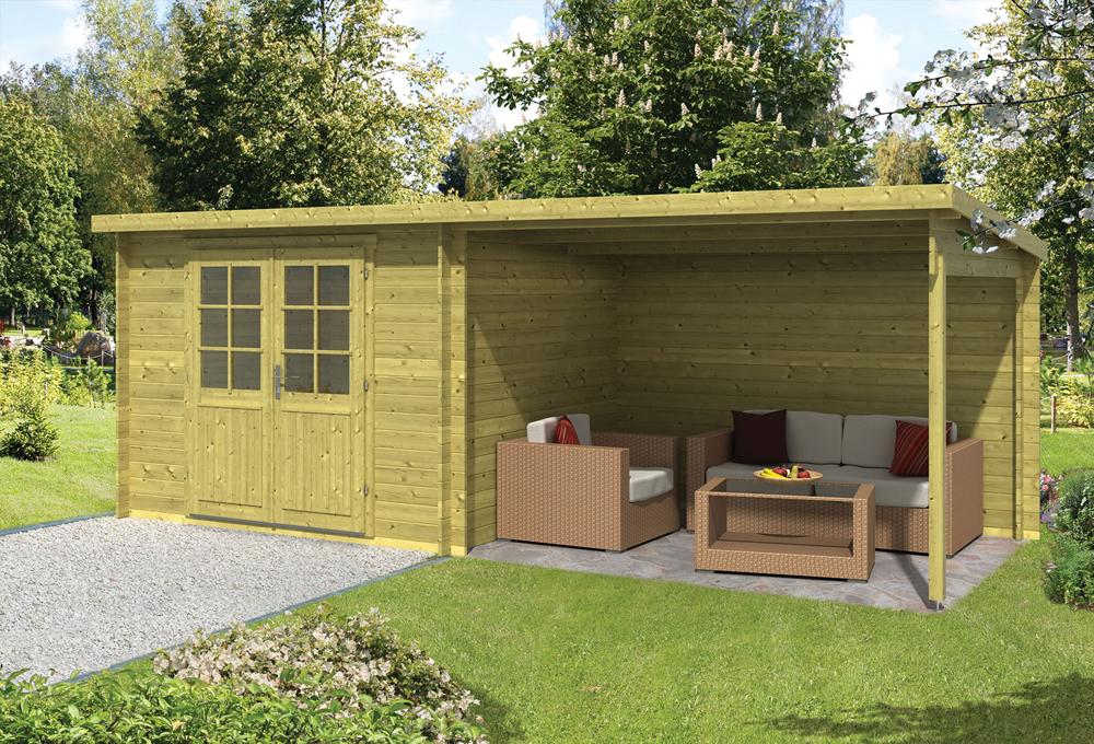 Garage Met Overkapping : Blokhut freddy met overkapping cm geïmpregneerd
