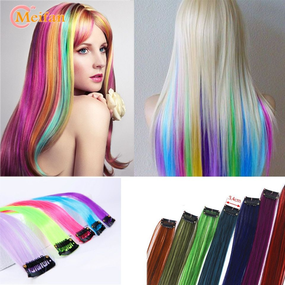 Meifan Long Straight Color Hair Clip In One Piece Hair Extensions Highlight Rainbow Hair Streak Pink Synthetic Color Hair Strand Linh S Corner In 2020 One Piece Hair Extensions Hair Pieces Hair Streaks