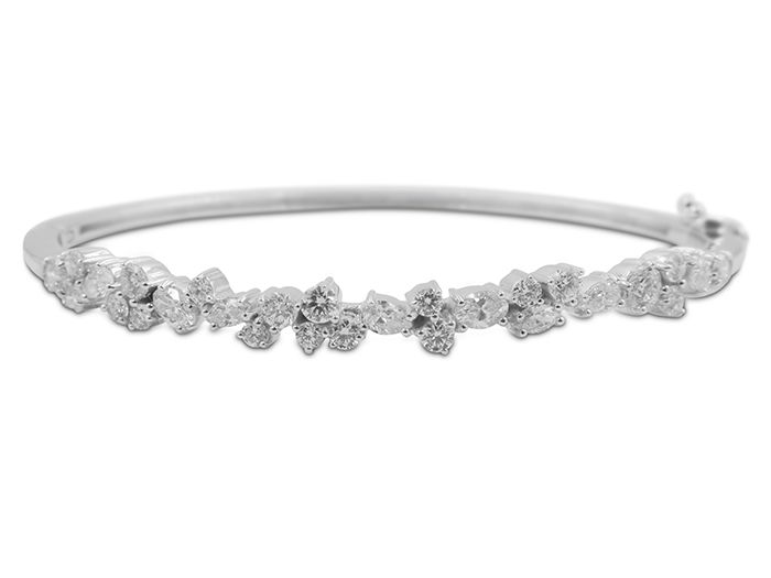 Penny Preville 18K White Gold Diamond Bangle Bracelet Featuring 28 Diamonds (20 Round, 4 Pear Shaped, 2 Oval, 2 Marquise), =1.56ct Total Weight