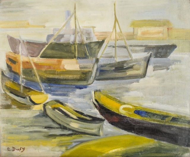 After Raoul Dufy (French, 1877-1953)   Capo Auction    Lot 47   Boats at Harbor. Oil on artist board. Signed (l.l.). Board size 18 x 21 1/2 inches. Unframed.