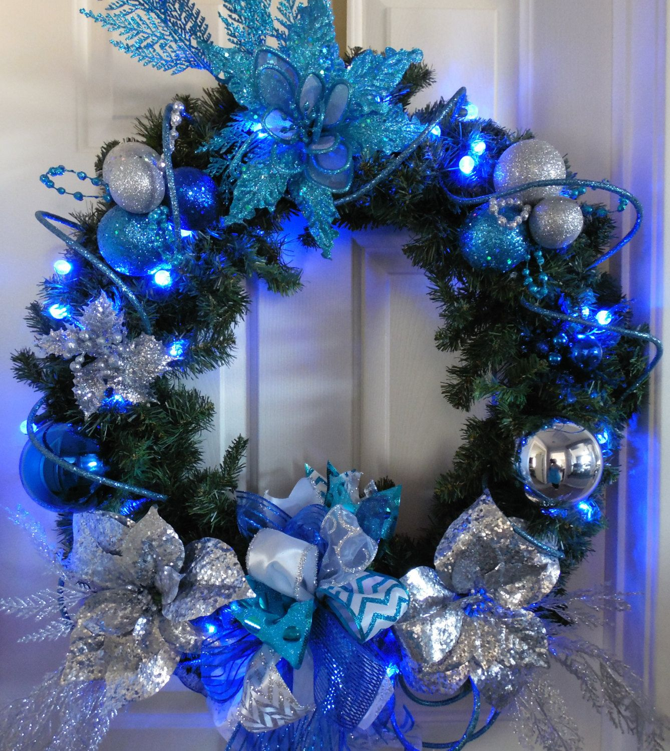 Turquoise Christmas Lights.Christmas Wreath Lighted Christmas Wreath Blue Silver And