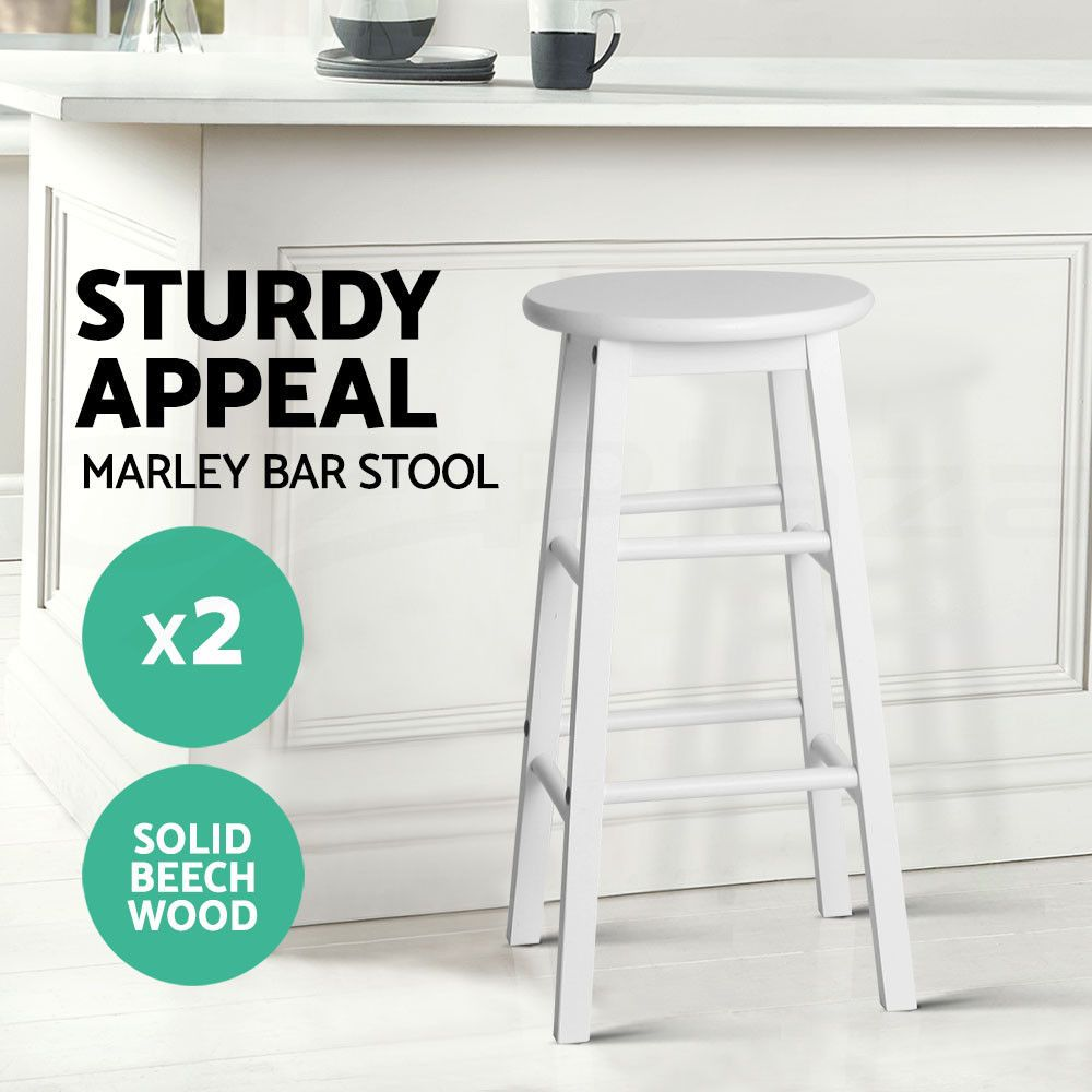 Details About 2x Marley Beech Wooden Bar Stool Dining Barstool