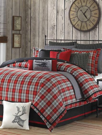 Red And Grey Plaid Bedding Cabin Decor Cabin Bedroom Christmas Bedroom