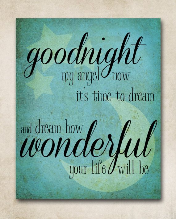 Goodnight My Angel Lullaby 8x10 Print Blue By Withanedesign 12 00 I Love This This Is The Song I Sing To Liam Whe Billy Joel Billy Joel Lyrics Piano Man