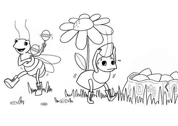 La cigarra y la hormiga: dibujo para colorear e imprimir   yubi ...