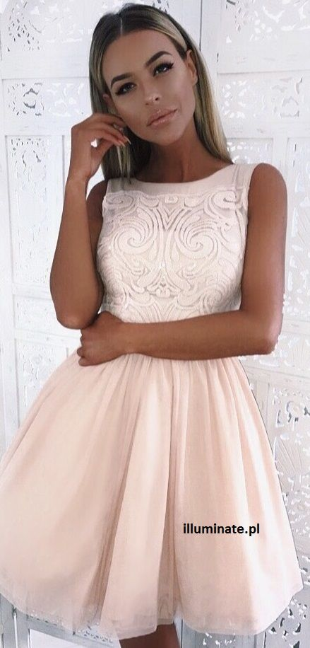 c22261b89661b2 Tiulowa cielista sukienka Nude tulle dress | Illuminate Sukienki ...