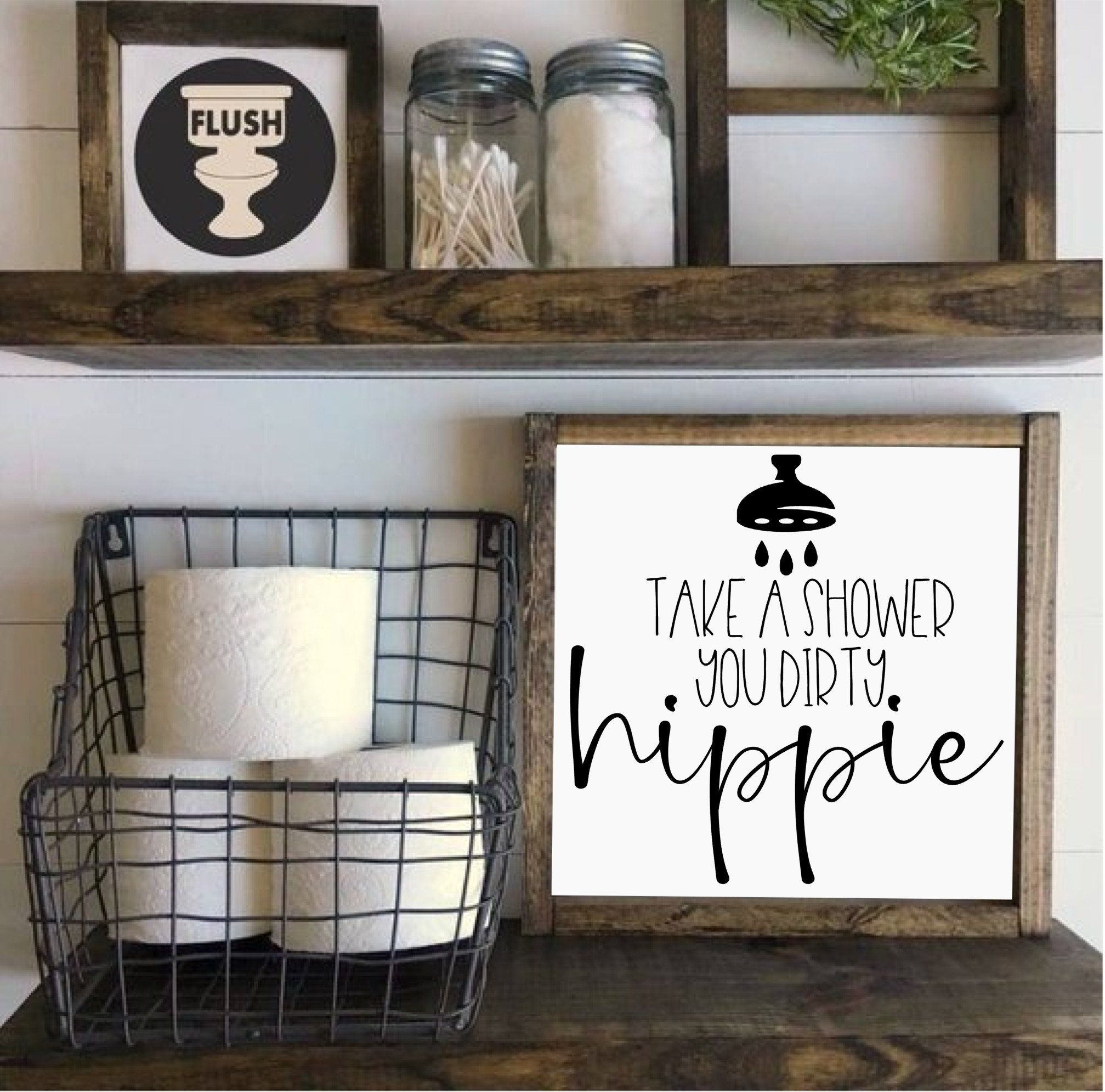Photo of Take a Shower You Dirty Hippie Bathroom Farmhouse Rustic Wood Sign