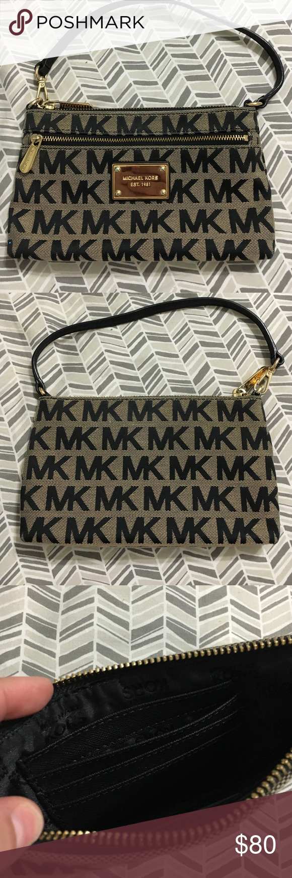 Black Michael Kors Wristlet Black Michael Kors wristlet New Without Tags, holds cards on inside as well as has a pocket for extra things on the outside Michael Kors Bags Clutches & Wristlets