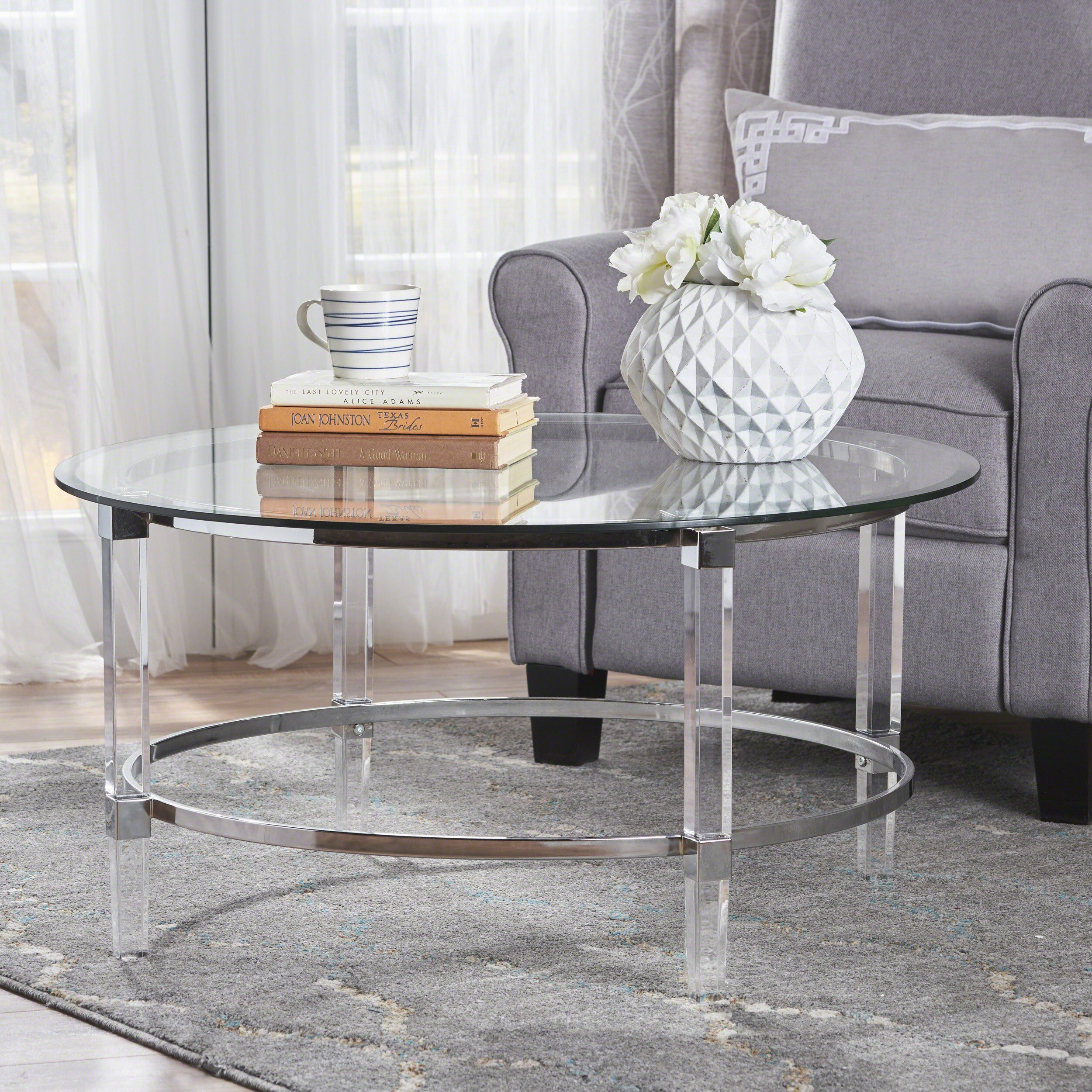 Lynn Modern Round Tempered Glass Coffee Table With Acrylic And Iron Accents Coffee Table Round Coffee Table Modern Round Glass Coffee Table [ 2500 x 2500 Pixel ]