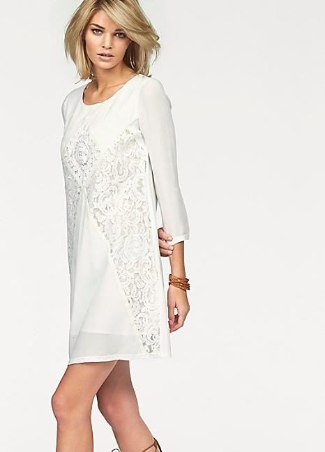 30e38cee437c39 Off White Lace Appliqué Tunic Dress by Laura Scott